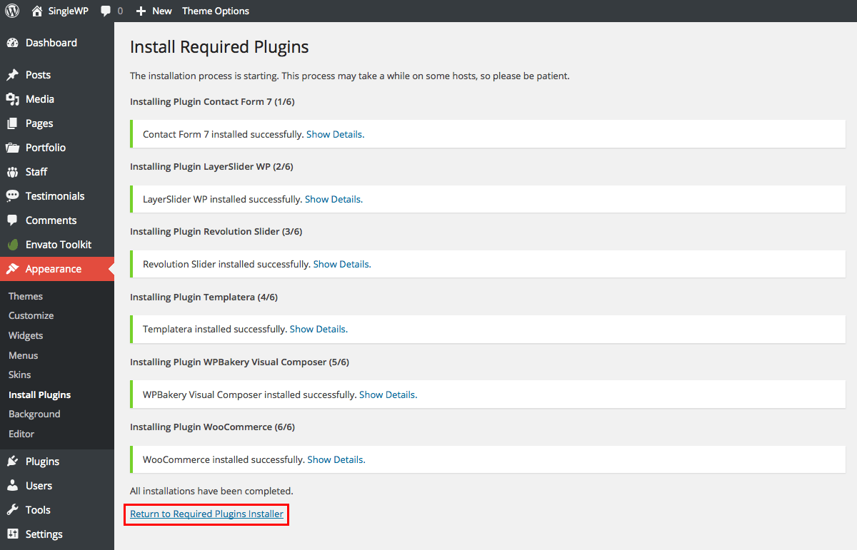 Return To Plugin Installer
