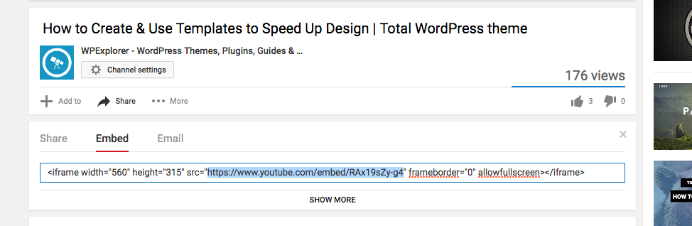 How to get the Embed URL/Link of a Youtube Video - Total WordPress Theme